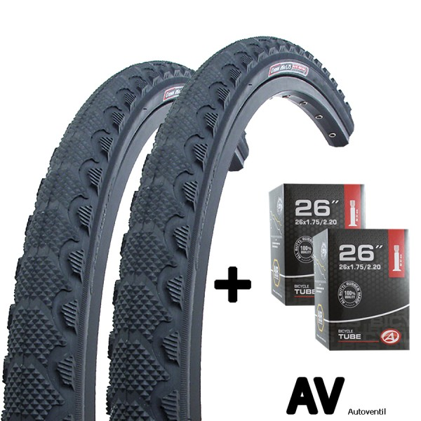 2x bicycle tire 26 inch 47-559 with tube AV set for front and rearwheel