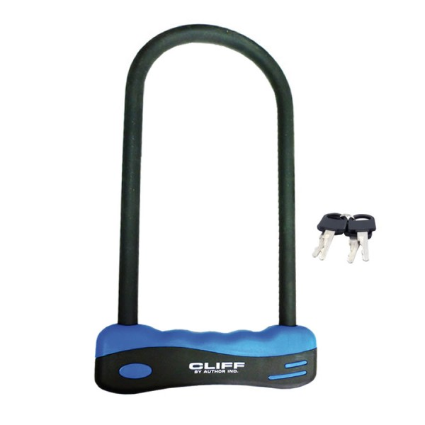 Bicycle U-lock AUL Cliff 105mmx255mm hardened steel black / blue