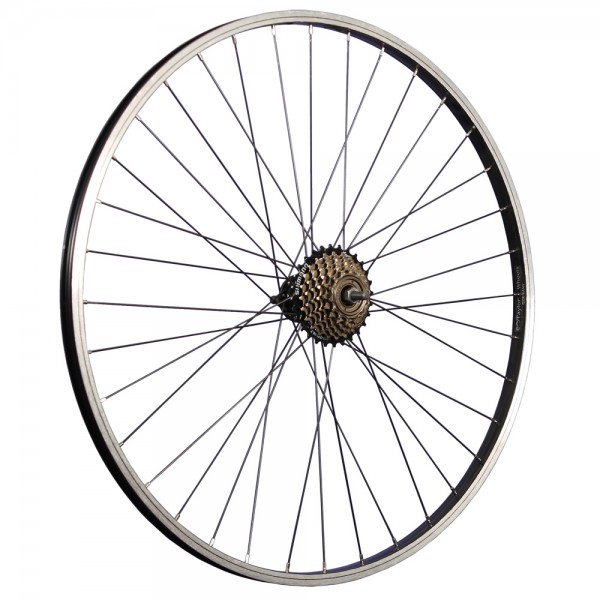 28 inch bicycle rear wheel aluminum rim with 7-speed freewheel